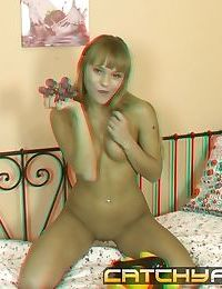Cute teen gets horny and fills her pussy with a eggplant in 3d scene - part 662